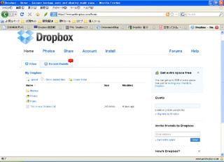 DropBoxのWeb画面